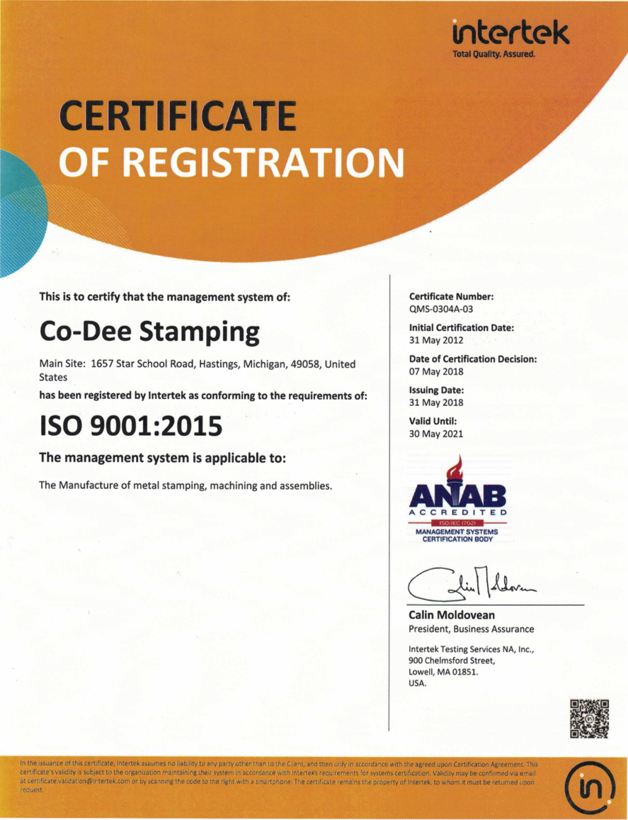 Precision Metal Stamping Intertek Certificate Co Dee Stamping